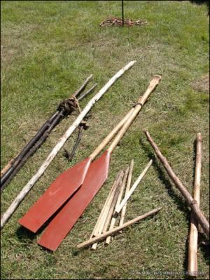 Canoe paddles at Grand Portage