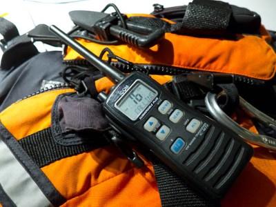 Icom M72 VHF radio ready for use on channel 16.