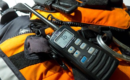 Icom M72 VHF radio ready for use on channel 16.