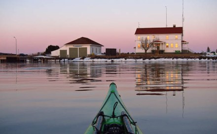 winter kayaking in the Grand Marais harbor