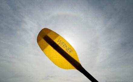 Kayak paddle and sun dog