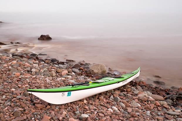 Kayaking on cold water.