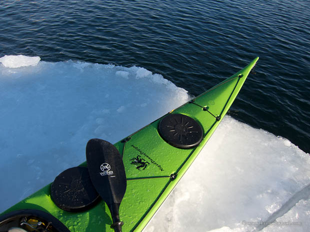 Kayak on ice pan.