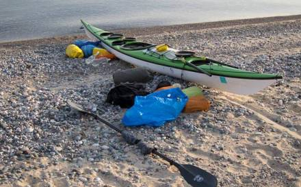Getting ready to pack a sea kayak