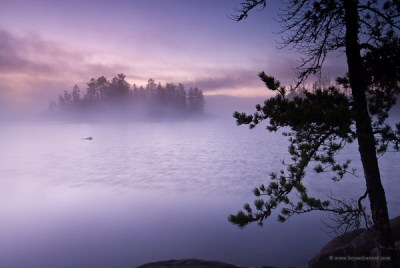 Boundary Waters border route sunrise over Sag
