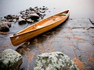 wood canoe in BWCA