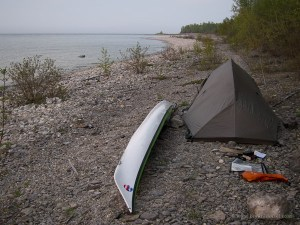 camping on a stone beach