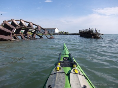 kayaking past a shipwreck