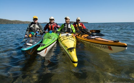 Kayakers ready to go kayaking.