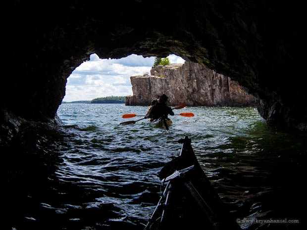 kayaking Tettegouche State Park on Lake Superior through a cave