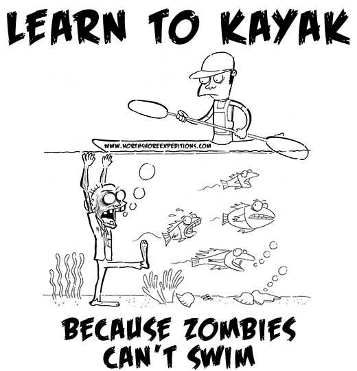 kayaker vs zombie tshirt design