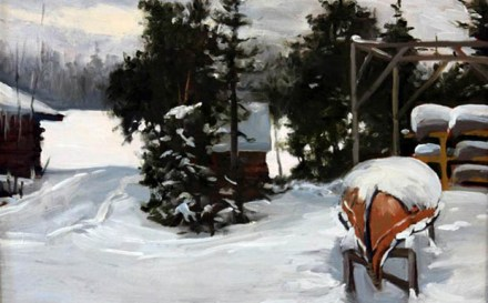 winter canoe painting