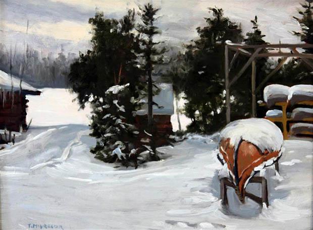 winter canoe painting