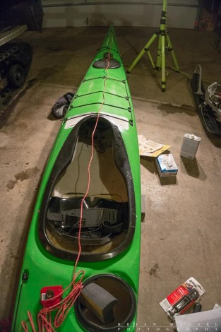 A string line running from the bow of the kayak to help center the seat.