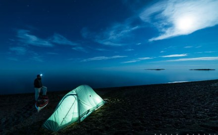 Kayak camping on Lake Superior at Paradise Beach. Cook County, Minnesota.