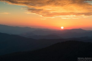 Sunset in the Great Smoky Mountains National Park. This view could close early and open later if the the parks aren't funded completely.