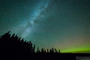 The Milky Way and northern lights over the Boundary Waters Canoe Area Wilderness in northern Minnesota. Federally protected and managed as wilderness for paddlers to enjoy.