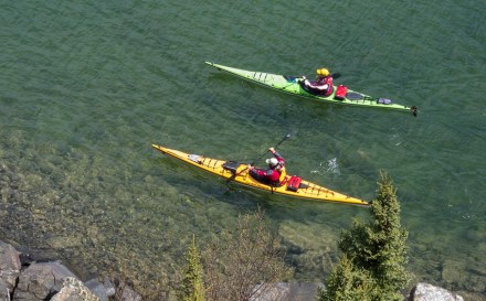 The Freemans kayak on Lake Superior.