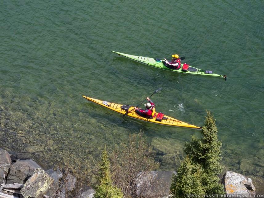 The Freemans kayak on Lake Superior.