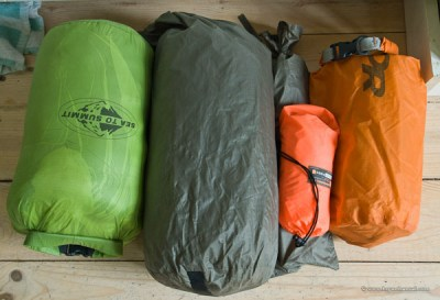 bedroom camping gear packed up