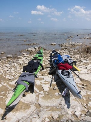 sea kayaks on cold water