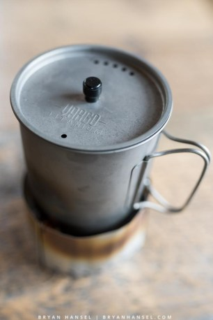 Titanium Ti-Lite 750 Mug on a stove