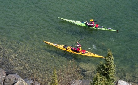 dave and amy freeman kayak on Lake Superior
