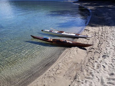 two kayaks on a beach