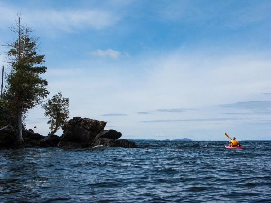 Kayaking down the eastern shoreline of Lake Nipigon