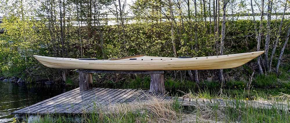 siskiwit bay kayak on sawhorses