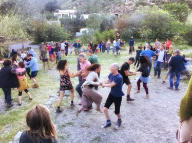 People ceilidh dancing in Orgiva, Andalucia, Spain