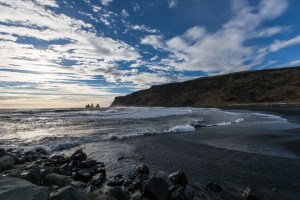 The black sand at Vik, looking out towards the sea stacks