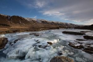 Frozen river at Laxa i Kjos