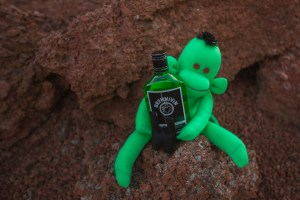 Welshot Monkey steals the Brennivin