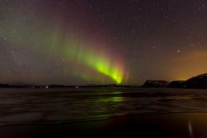 Northern Lights across the Lake at þingvellir
