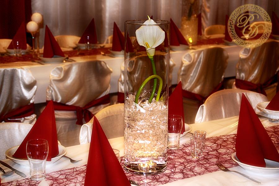 Hochzeitsdeko Bordeaux  Rot