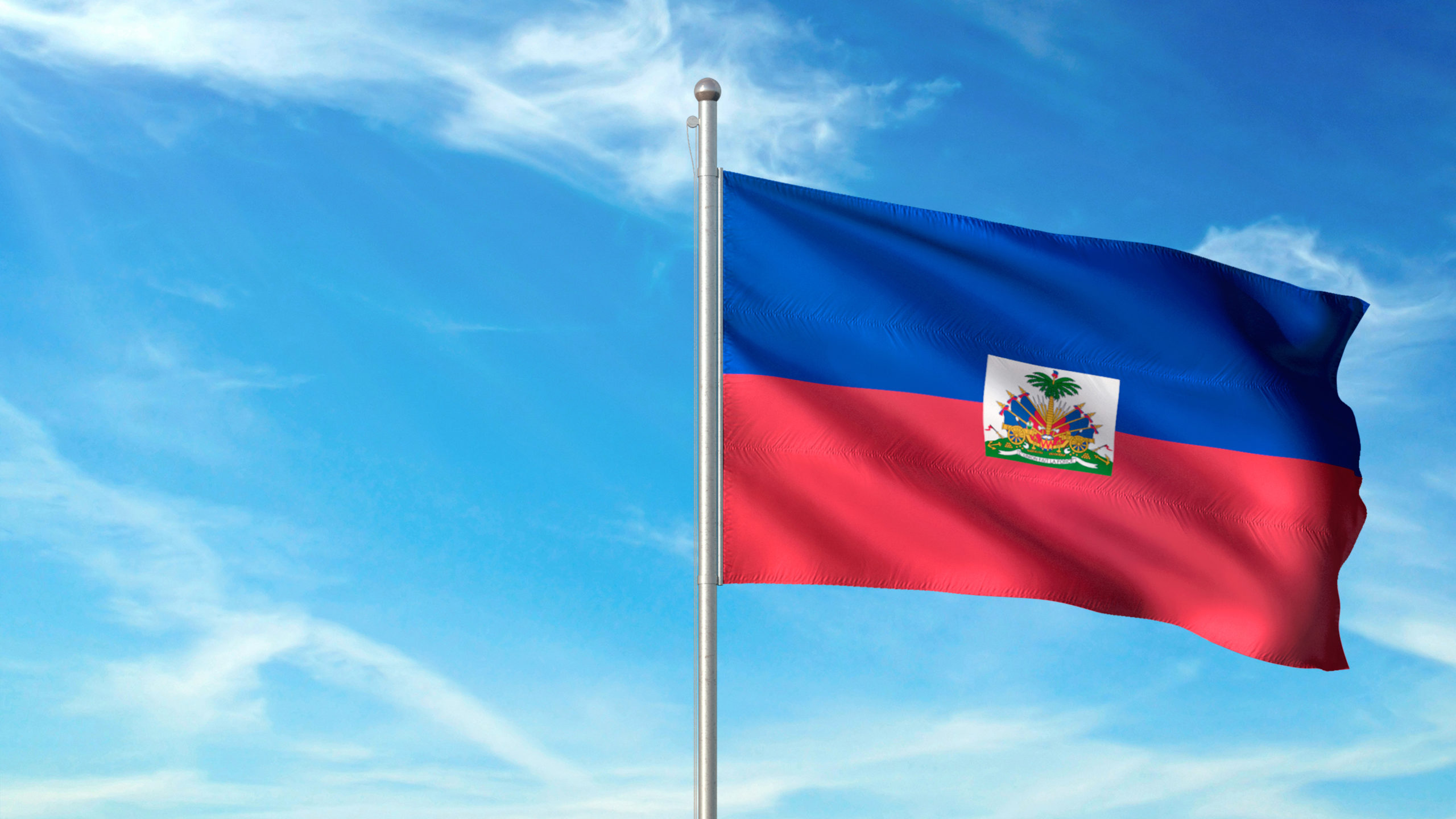 Haiti flag on flagpole waving cloudy sky background realistic 3d illustration with copy space