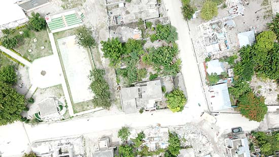 Aerial view of damage in Chardonnieres