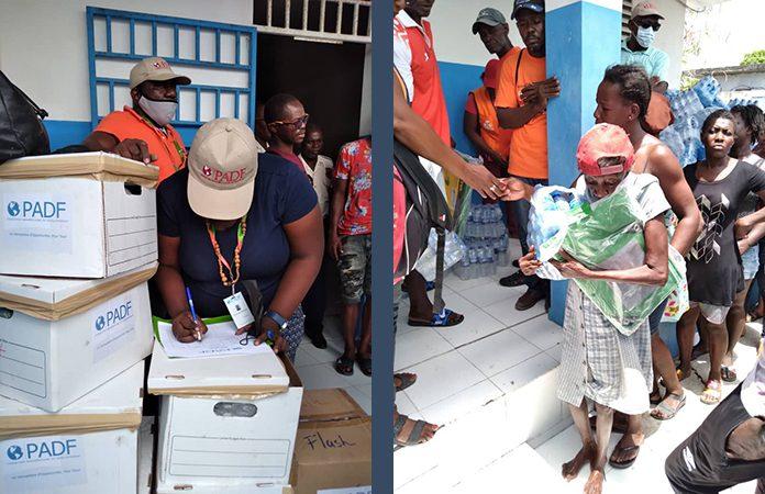 Distribution of PADF humanitarian aid in Haiti.