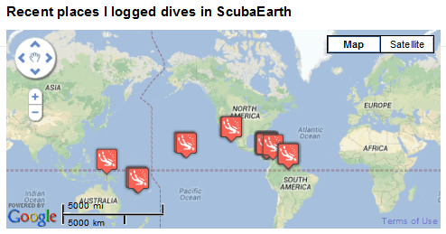 Places I've Dived on ScubaEarth