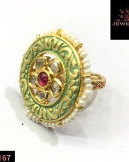 kundan green mint ring