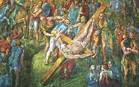 Saint Peter being crucified