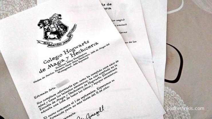 Carta de aceptación a Hogwarts