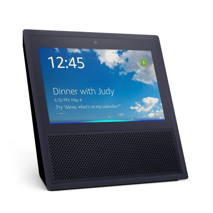 An Echo Show displaying its home screen