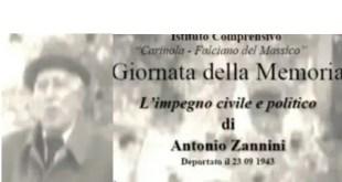 Carinola – Giornata della Memoria e l'impegno civile e politico di Antonio Zannini, domani la celebrazione presso Palazzo Novelli