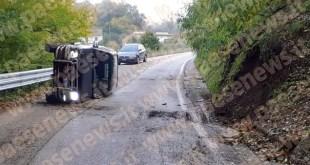 Marzano Appio – Auto ribaltata in curva, miracolato conducente