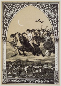 Witches flying to Sabbat by Bernard Zuber Woodblock print 1926_013