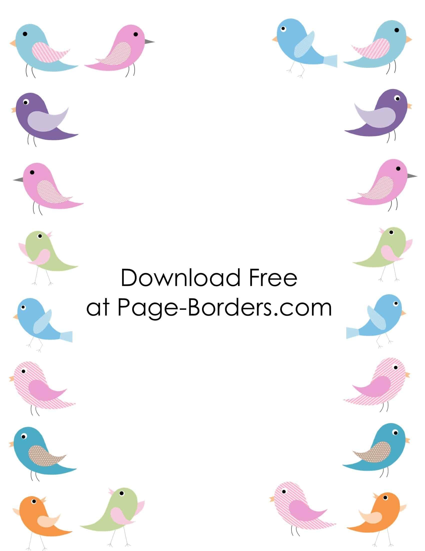 Free Printable Bird Border
