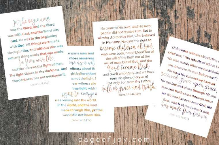 John 1 Verse Cards, free printable from pageofjoy.com