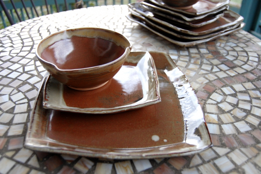 Handmade Pottery Dinnerware Set In Rustic Red Square Plate Stoneware Pottery
